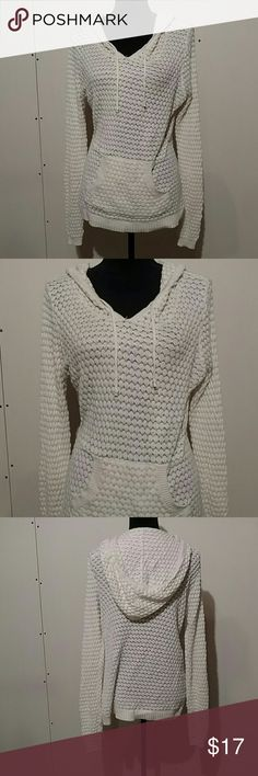 Ivory, Sparkly, Hooded Sweater Excellent condition. Worn once/ like new.  Hoodie / Hooded sweatshirt.  Pocket pouch in front. Lovely for Christmas / Holiday Party or causual gathering. Soft and comfortable.   ?????? Maurice's Sweaters