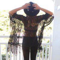 Sannysis® Mujeres Kimono Encaje; Blusa borlas Cardigan (negro, L)