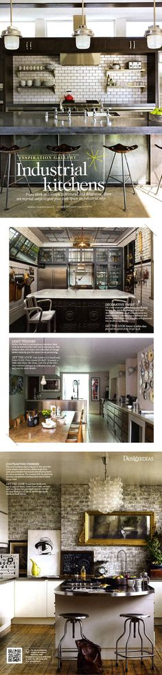 """DREAM KITCHEN"" Is the industrial look your taste? you can still find great storage solutions while maintaining an industrial look. Industrial Kitchen Design, Industrial Interiors, Industrial House, Industrial Chic, Industrial Kitchens, Loft Kitchen, Kitchen Interior, Kitchen Styling, Home Kitchens"