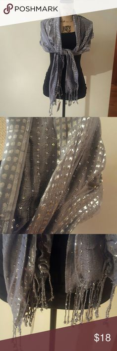 Shawl/ Scarf Beautiful gray shawl with silver decor. Perfect for a night out or formal event! Accessories Scarves & Wraps