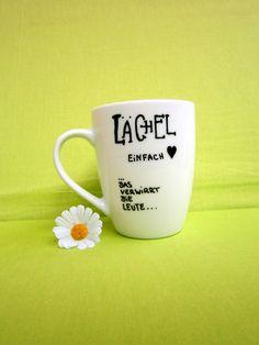 Tasse mit Spruch  lächeln   Deine Spruch-Tasse von hochdietassen via dawanda.com