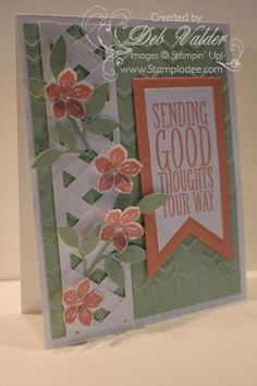 Lattace Card using the Chevron Punch, Petite Petals, and Banners and Perfect Pennants