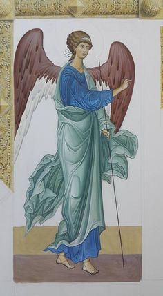 Byzantine Icons, Byzantine Art, Religious Icons, Religious Art, Order Of Angels, Friend Of God, Archangel Gabriel, Angel Statues, Catholic Art
