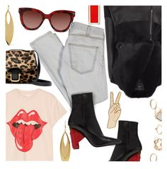 """""""Rolling Stones and Leopard"""" by stacey-lynne ❤ liked on Polyvore featuring MadeWorn, Christian Dior, Valentino, Current/Elliott, Kenneth Jay Lane, Balenciaga, J.Crew, Lucky Brand and GUESS"""