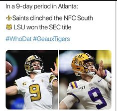Louisiana State University, University Of Georgia, Nfl Sports, Sports Teams, Saints Memes, Nfc South, Lsu Tigers Football, New Orleans Saints Football, Who Dat