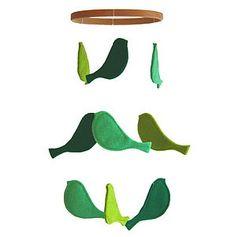 Baby Mobile Birds Green