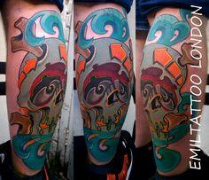 Color skull tattoo,with graffiti twist.