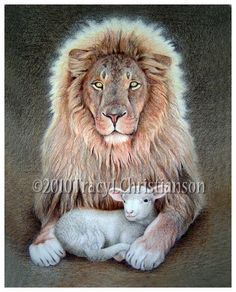 The Lion and Lamb Art Print Free Shipping by PortraitsofSaints