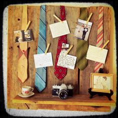 Found the old barn board shelf at a flea-market and gave it some vintage charm with old neck ties. Used clothes pins to pin thank you notes from clients onto them. Hangs above my desk in our photography office. 