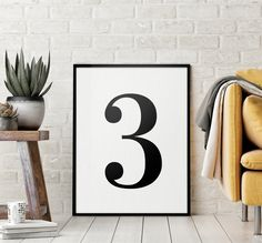 Number 3 Printable Art Poster, Number 3 Sign, Number 3 Wall Art, Kids Room Decor, Black & White Printable Wall Art *Instant Download* Initial Wall Art, Letter Art, Printing Websites, Online Printing, Bedroom Decor For Couples, Nursery Letters, Wall Art Quotes, Home Wall Art, Printable Wall Art