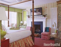 A Colorful Bedroom  Designer Meg Braff's first purchase for this master bedroom was the antique barley-twist four-poster bed