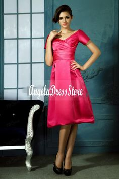 5ff360a56d71 2016 New Cheap Short Bridesmaid Dresses Pleats A Line Off the shoulder V  Neck Knee Length Satin Hot Sale-in Bridesmaid Dresses from Weddings    Events on ...