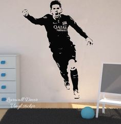 Cheap wall sticker, Buy Quality wall stickers bedroom directly from China stickers bedroom Suppliers: Lionel Messi Barcelona Football Player Wall Sticker Bedroom Boys Room Argentina Soccer Sport Athlete Wall Decal Vinyl Decor Vinyl Decor, Vinyl Wall Decals, Wall Decor, Lionel Messi Barcelona, Barcelona Football, Cool Bedrooms For Boys, Bedroom Boys, Bedroom Ideas, Wall Stickers Unicorn