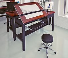 The Freedom Drafting Center is the premiere workstation for computer aided drafting professionals. Combining strength and functionality, this split-top drafting table can accommodate a computer tower, monitor, and keyboard as well as standard drafting tools. Designed with precision, the Freedom Drafting Center has two independent surfaces for traditional and computer aided drafting applications.