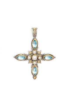Konstantino 'Amphitrite' Pearl & Semiprecious Stone Maltese Cross Pendant available at #Nordstrom