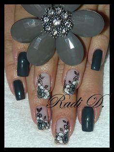 Grey flowers by RadiD - Nail Art Gallery nailartgallery.nailsmag.com by Nails Magazine www.nailsmag.com #nailart