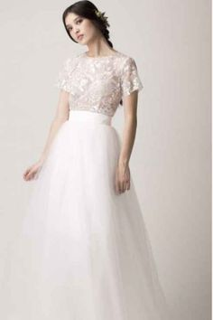glamorous bridal separates with embellished top and tulle skirt