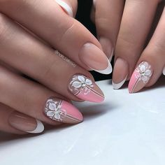 Es wurde 1 bis 10 Mal im Monat zuvor . - nails - - New Ideas Bride Nails, Wedding Nails, Flower Nail Designs, Nail Art Designs, Beautiful Nail Art, Gorgeous Nails, Nail Art Tropical, Cute Nails, Pretty Nails