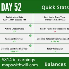 Day 52 - $814 in earnings Click ads get paid! :) www.mapswithwill.com