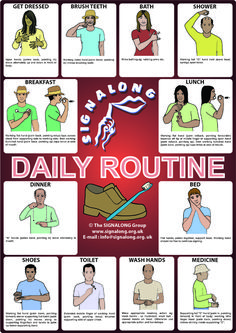 Daily Routine Signs Poster - BSL (British Sign Language)