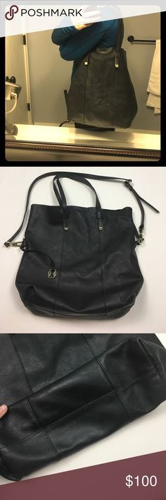 Halston Heritage Black Large Shoulder Bag w/ Strap This is a gorgeous bag. Soft leather and tons of room for everything you might ever need. Halston Heritage brand. Inside of bag could use a good cleaning and a couple slight stains on leather as pictured. Hardware is in good shape. Hurry before I keep this, it's lovely!! 🛍 Comes with strap and attached wallet. 29apr17bjko Halston Heritage Bags