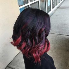 Black to Red Ombre Bob Hairstyle with a Pop of Purple