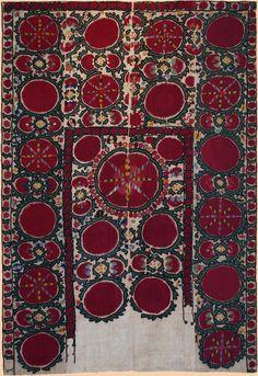 "Antique Central Asian Suzani. Silk Embroidery on Cotton, Circa 1880, Size 75"" x 51"", 190 x 129 cm"