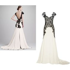 """""""black and white gown"""" by akageiger on Polyvore"""