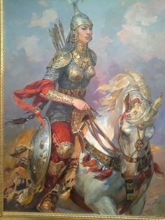 ♔ ☪ Azerbaijan Character Design Animation, Character Art, Goddess Warrior, Medieval Life, Traditional Paintings, Equine Art, Middle Ages, Mythology, Fantasy Art