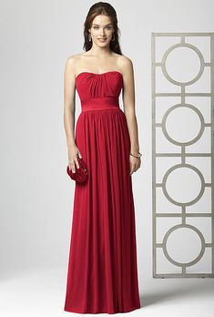 Brides.com: Radiant Red Bridesmaid Dresses for Your Bridal Party. Red Bridesmaid Dress: Dessy. Full-length sweetheart dress, style 2860, $250, DessySee more Dessy bridesmaid dresses.Shop this look at Weddington Way.
