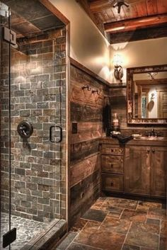 You would feel homey when you have a farmhouse small bathroom in your beloved house. All part of farmhouse bathroom decor ideas. These farmhouse small bathroom ideas will fit on your needs. Rustic Bathroom Designs, Rustic Bathroom Decor, Lodge Bathroom, Rustic Decor, Rustic Design, Log Cabin Bathrooms, Stone Bathroom, Rustic Kitchen Design, Rustic Colors
