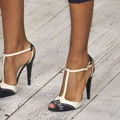 Shoespie Black and White Two Tone Patchwork T Strap Stiletto Heels- Shoespie.com