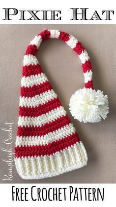 Crochet Stitch Crochet Pixie Christmas Hat Pattern - A roundup of 10 free crochet hat patterns for Christmas! Make these crochet Christmas hats for yourself or loved ones as awesome gifts! Crochet Christmas Hats, Christmas Crochet Patterns, Christmas Gifts, Baby Christmas Hat, Bonnet Crochet, Crochet Beanie, Crocheted Hats, Booties Crochet, Beginner Crochet Projects