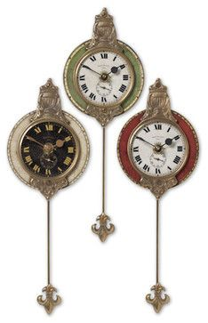 Uttermost 6046 Monarch Set of 3 ClockWeathered laminated clock face with cast brass details and pendulum. Requires 1-AA Battery.Features: *Product Height: 11 inches *Product Width: 4 inches *Product depth: 1.75 inches