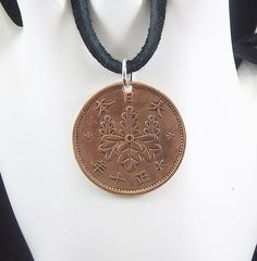 Japanese Coin Necklace 1 Sen Coin Pendant by AutumnWindsJewelry