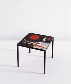 Pierre and Véra Szekely; Glazed Earthenware and Enameled Steel Table, 1950s.