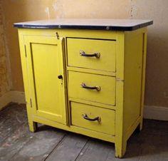 vintage yellow kitchen cabinet - useful storage