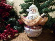 Santa Claus Merry Christmas Banner Tree Ornament Home Decor Ceramic Figurine