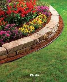 Plastic edging works well on curves, I like the mulch outside the pavers