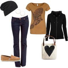 so cute & comfy...Love the shirt & beanie...minus the purse