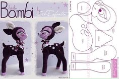 moldes-para-hacer-peluches-de-bambi-2 Animal Sewing Patterns, Stuffed Animal Patterns, Doll Patterns, Bambi, Sewing Toys, Sewing Crafts, Sewing Projects, Fabric Animals, Felt Animals