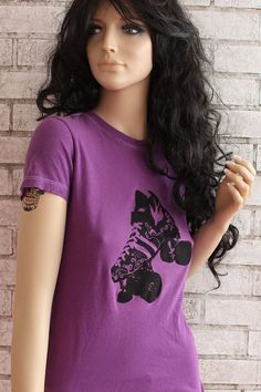 Roller Skate Tshirt Ladies Cotton Tee Shirt Quad by CausticThreads,
