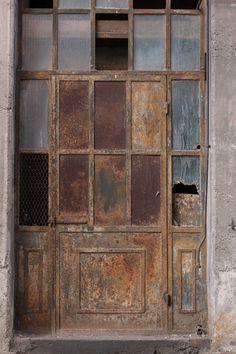 Rustic brown and teal. Portal, Urban Industrial, Vintage Industrial, Old Windows, Windows And Doors, Rust In Peace, Tactile Texture, Cool Doors, House Doors