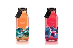 Illustrations for bottled fruit juice by Qian Xu