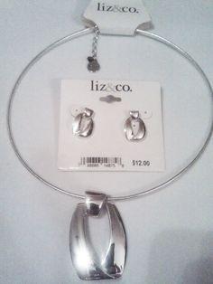 "2pc. Liz Claiborne Signature Logo Silver Choker & Earring Set 16"" adj. #LizClaiborne"