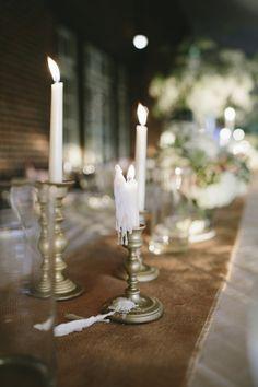 John + Amy - Brooke Courtney Photography / blush + nude wedding inspiration / wedding details / candles / candle sticks / table decoration / reception /