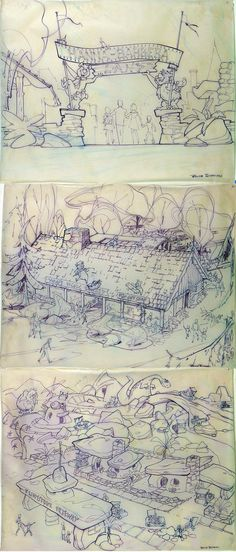Fantastic concept art for a never-built Hanna Barbera Land by Disney concept/layout artist Bruce Bushman (1911-1972).
