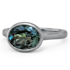 Custom Designed Brushed Horizontally Set Sapphire Ring - love this teal Malawi sapphire! | brilliantearth.com