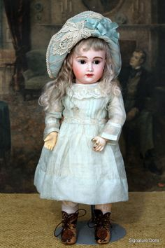 SIGNATURE DOLLS on Ruby Lane http://www.rubylane.com/item/477380-AF-39/16-Wistful-German-Bisque-Child #antiquedoll #kestner