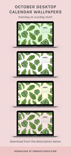 October tropical leaf desktop monthly calendar wallpapers by emmastudies